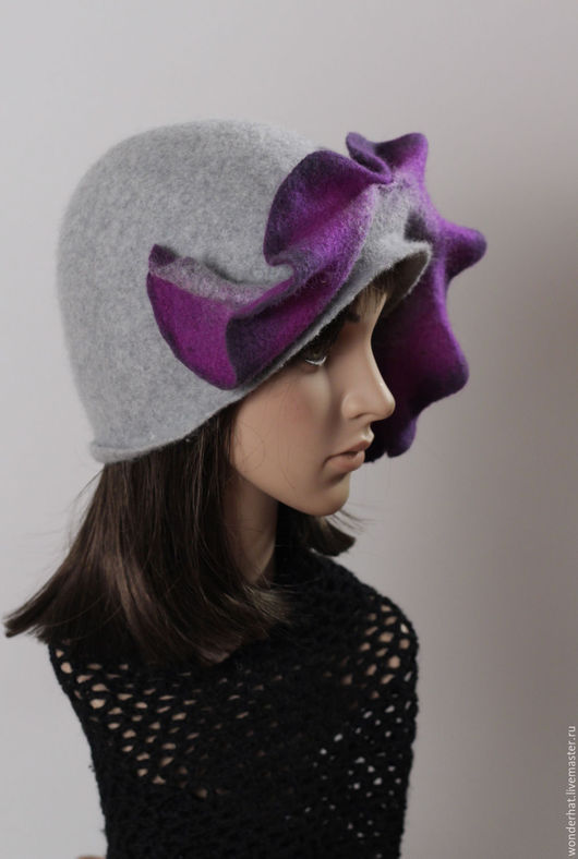 """Шляпы ручной работы. Ярмарка Мастеров - ручная работа. Купить Шляпка """"Февральский полонез"""". Handmade. Серый, осень, валяная шляпка"""