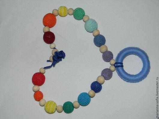 Детская бижутерия ручной работы. Ярмарка Мастеров - ручная работа. Купить Слигобусы разноцветные с колечком. Handmade. Разноцветный, хлопок 100%