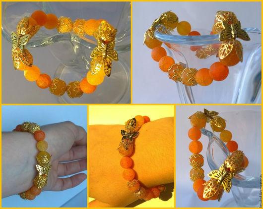 браслет ручной работы, браслет на заказ, матовый агат кракле, оранжевое настроение, летний браслет