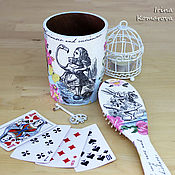 """Сувениры и подарки ручной работы. Ярмарка Мастеров - ручная работа """"Алиса, фламинго и кролик"""", расческа в стаканчике. Handmade."""