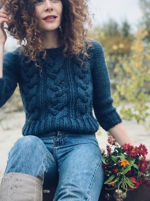 свитер женский вязаный короткий свитер свитер с косами купить в