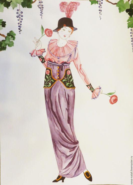 Люди, ручной работы. Ярмарка Мастеров - ручная работа. Купить Дама с двумя розами (акварель). Handmade. Комбинированный, дама, розы