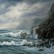 """Картины и панно ручной работы. Ярмарка Мастеров - ручная работа """"Прибрежные скалы"""". Handmade."""
