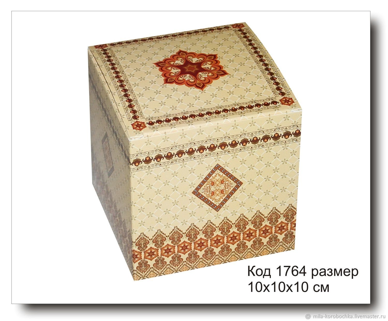 Коробочка  подарочная код 17  размер 10х10х10 см, конструкция с откидной крышкой.