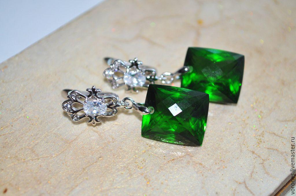 earrings with green amethyst, Earrings, Moscow,  Фото №1