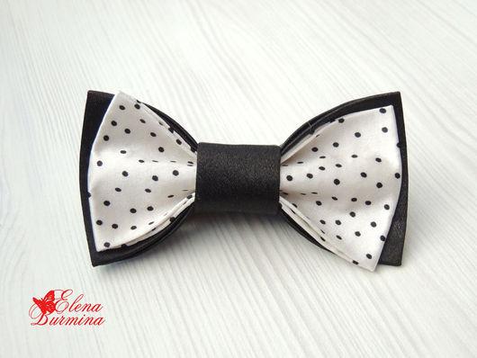 Галстуки, бабочки ручной работы. Ярмарка Мастеров - ручная работа. Купить Бабочка галстук черная в мелкий горошек, атлас. Handmade.