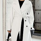 Одежда ручной работы. Ярмарка Мастеров - ручная работа Белое пальто с ручной отделкой. Handmade.