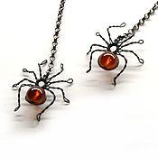 Earrings handmade. Livemaster - original item Earrings silver Spiders (925 silver with black garnet spessartine). Handmade.