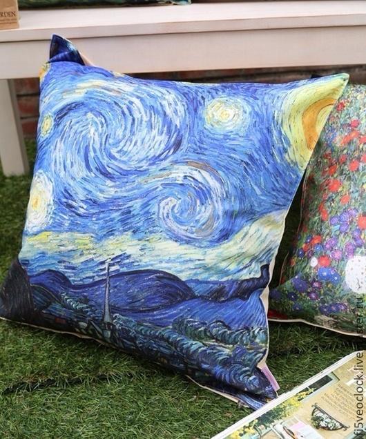 Текстиль, ковры ручной работы. Ярмарка Мастеров - ручная работа. Купить Подушка декоративная Звездная ночь Ван Гог. Handmade.