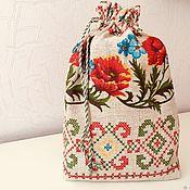 """Мешочки для подарков ручной работы. Ярмарка Мастеров - ручная работа Мешочек изо льна """"Маки"""". Handmade."""