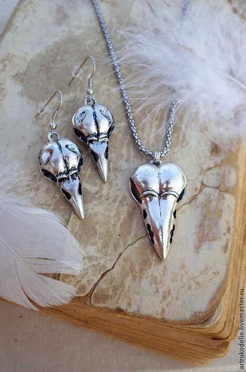 Комплект украшений с черепами птиц. Готика. Кулон и серьги с маской птичий череп (маска Чумной доктор)