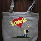Сумка-шоппер ручной работы. Ярмарка Мастеров - ручная работа Экосумка «Love is...». Handmade.