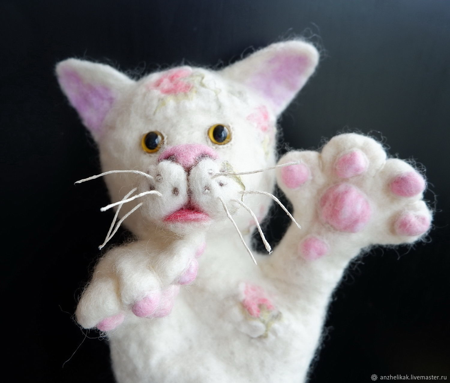 Cat white theatrical doll. A puppet for the puppet theater, Puppet show, Rostov-on-Don,  Фото №1