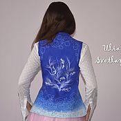 Одежда ручной работы. Ярмарка Мастеров - ручная работа Синий валяный жилет Морозные узоры. Handmade.