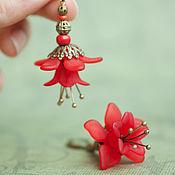 Украшения ручной работы. Ярмарка Мастеров - ручная работа серьги - красный цветок. Handmade.