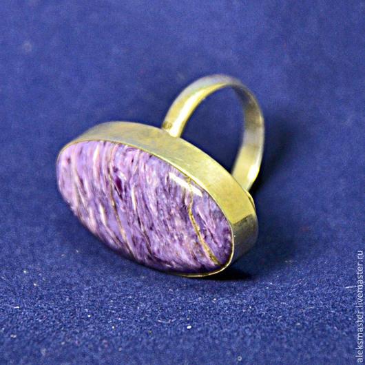 Кольца ручной работы. Ярмарка Мастеров - ручная работа. Купить Кольцо с чароитом. Handmade. Подарок, кольцо с камнем