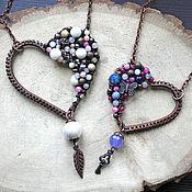 """Украшения ручной работы. Ярмарка Мастеров - ручная работа Кулон """"Сердце"""" медь, натуральные камни. Handmade."""
