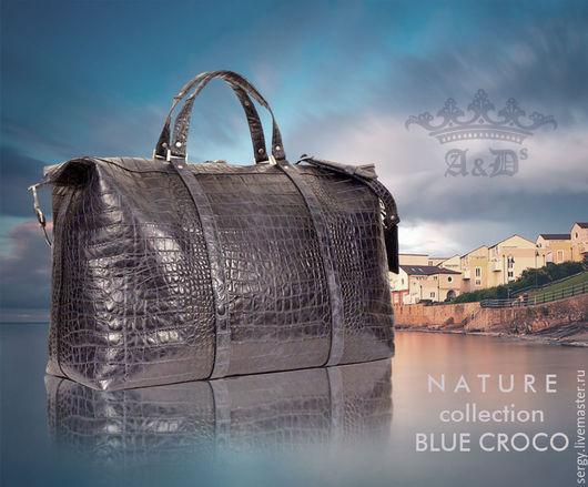 Спортивные сумки ручной работы. Ярмарка Мастеров - ручная работа. Купить Сумка Cruise Blue Croco. Handmade. Тёмно-синий