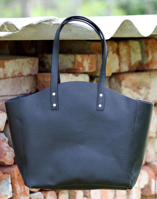 Черная кожаная сумка-шоппер. Сумка из натуральной кожи.