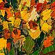 Желтые и красные розы Анна Крюкова Чайные розы Желтый красный зеленый темно-зеленый Яркие цветы Картина роза маслом в интерьер