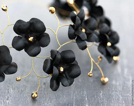 Свадебные украшения ручной работы. Ярмарка Мастеров - ручная работа. Купить Черная корона, готическая свадьба, диадема черная, черные цветы. Handmade.
