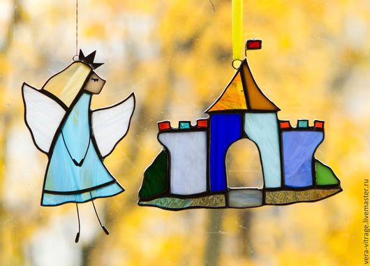 Элементы интерьера ручной работы. Ярмарка Мастеров - ручная работа. Купить Волшебный замок и принцесса. Витражная композиция. Стекло, металл.. Handmade.
