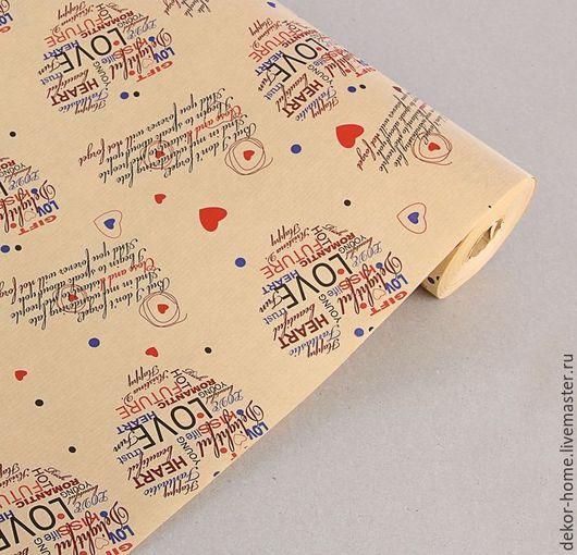 """Упаковка ручной работы. Ярмарка Мастеров - ручная работа. Купить Бумага упаковочная крафт """"Сердечки"""" 50 х70 см, 90 г/м2. Handmade."""