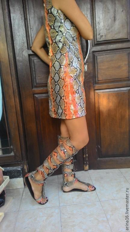Платья ручной работы. Ярмарка Мастеров - ручная работа. Купить Платье из кожи питона. Handmade. Разноцветный, Платье кожаное