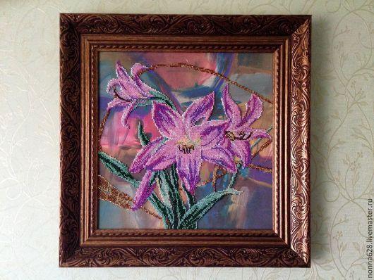 """Картины цветов ручной работы. Ярмарка Мастеров - ручная работа. Купить Картина """"Лилии Эдема"""". Handmade. Розовый, картина из бисера"""