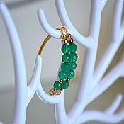 Украшения handmade. Livemaster - original item Earrings, emerald, agate, gold plated