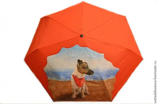 """Зонты ручной работы. Ярмарка Мастеров - ручная работа. Купить Зонт с ручной росписью """"Джек Рассел терьер"""". Handmade."""