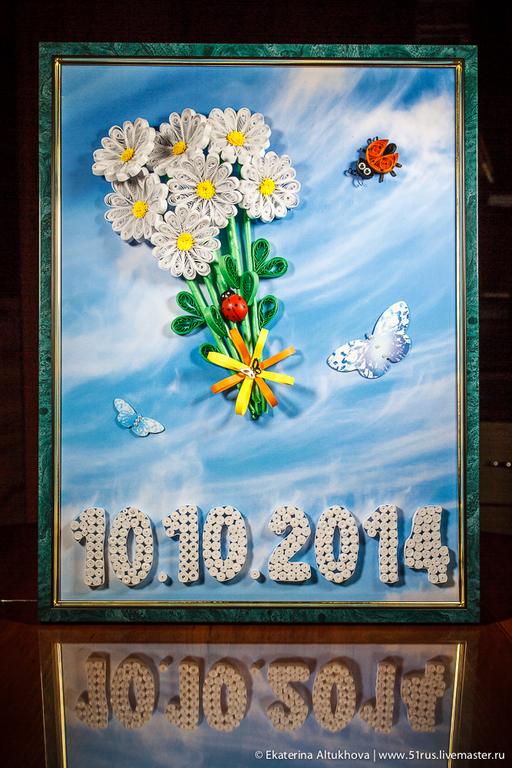 Картины цветов ручной работы. Ярмарка Мастеров - ручная работа. Купить Квиллинг-картина «Ромашки». Handmade. Цветы ручной работы