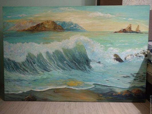 Пейзаж ручной работы. Ярмарка Мастеров - ручная работа. Купить море среди скал. Handmade. Бирюзовый, море живопись
