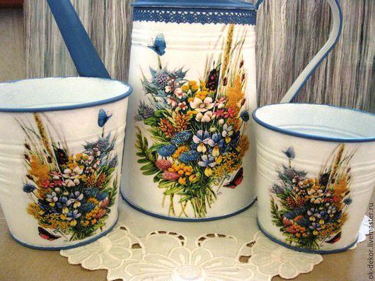 Лейки ручной работы. Ярмарка Мастеров - ручная работа. Купить Лейка и 2  кашпо  Полевые цветы. Handmade. Лейка