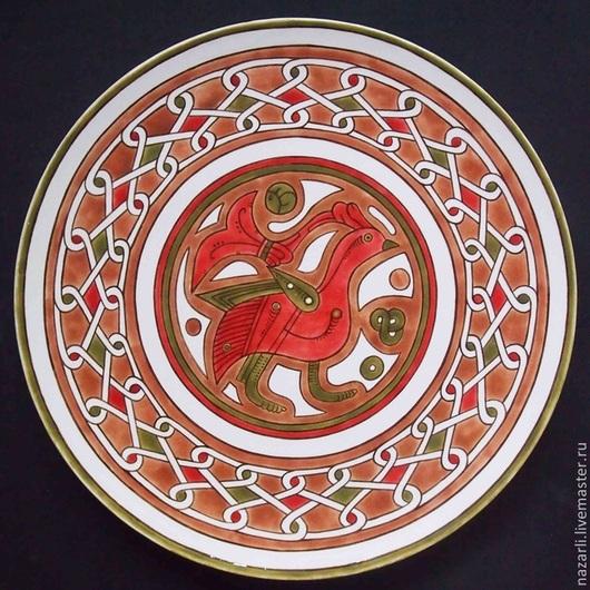 Декоративная посуда ручной работы. Ярмарка Мастеров - ручная работа. Купить Тарелка декоративная Птица Тохаристан 34 см диаметр. Handmade.