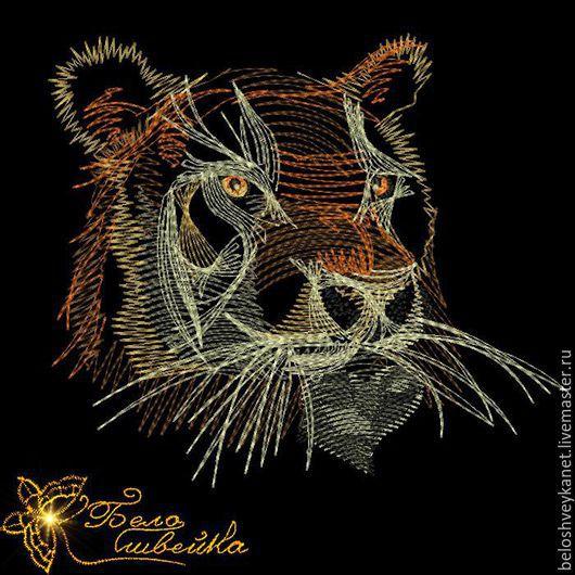 """Вышивка ручной работы. Ярмарка Мастеров - ручная работа. Купить """"Тигр"""" дизайн для трикотажа (Код: NB0129). Handmade. Машинная вышивка"""