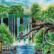 Картины и панно handmade. Livemaster - original item Oh, mountain waterfall!( Drawing with dry pastels, coated with fixative). Handmade.