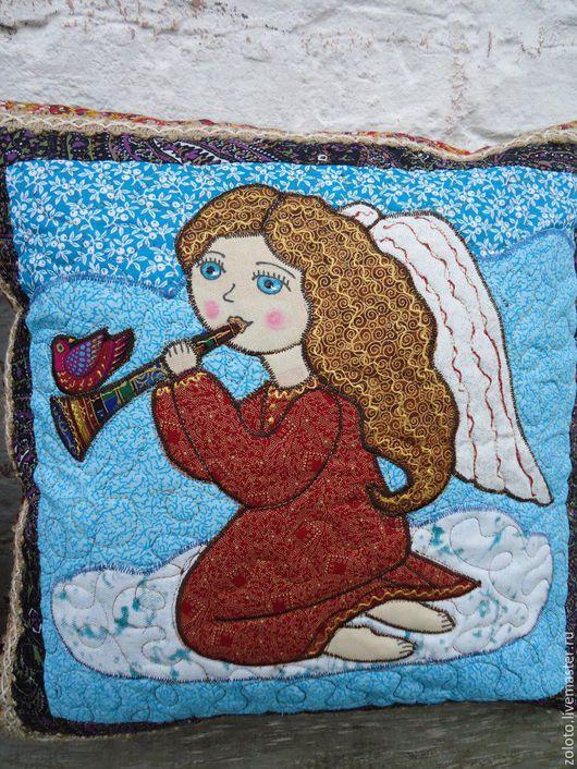 """Текстиль, ковры ручной работы. Ярмарка Мастеров - ручная работа. Купить наволочки """"Ангел с кошкой"""" и """" Ангел с дудочкой"""". Handmade."""