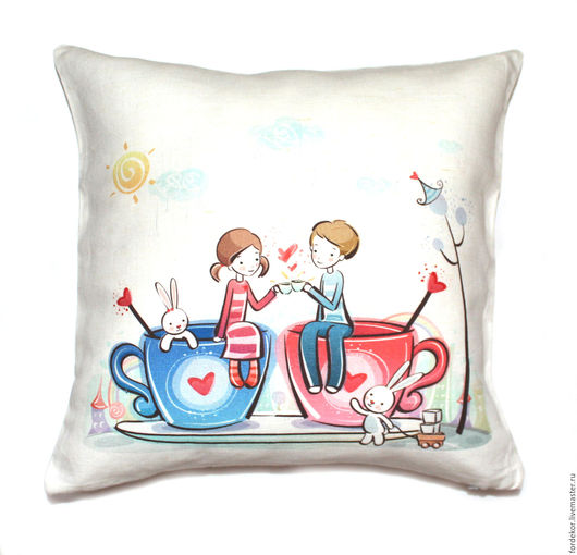 """Подарки для влюбленных ручной работы. Ярмарка Мастеров - ручная работа. Купить Льняная подушка """"Влюбленная пара"""". Handmade. Комбинированный, любовь"""