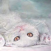 Картины и панно handmade. Livemaster - original item painting watercolor cat the picture with the cat white cat. Handmade.