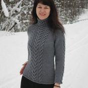 Одежда ручной работы. Ярмарка Мастеров - ручная работа Аляска серый свитер с косами. Handmade.