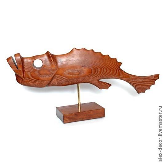 Статуэтки ручной работы. Ярмарка Мастеров - ручная работа. Купить Скульптура Fish-4. Handmade. Коричневый, сувениры из дерева