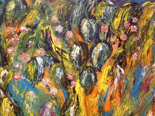Абстракция ручной работы. Ярмарка Мастеров - ручная работа. Купить Сады в цвету. Handmade. Желтый, картина для настроения
