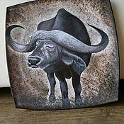Картины и панно ручной работы. Ярмарка Мастеров - ручная работа тарелка Африка (Буйвол). Handmade.