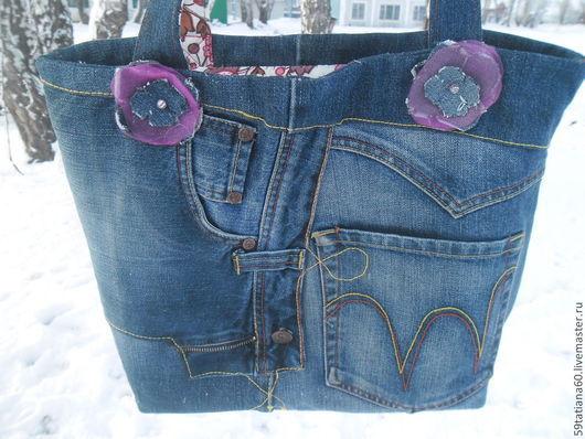 Женские сумки ручной работы. Ярмарка Мастеров - ручная работа. Купить Джинсовая сумка Карманов много не бывает. Handmade.