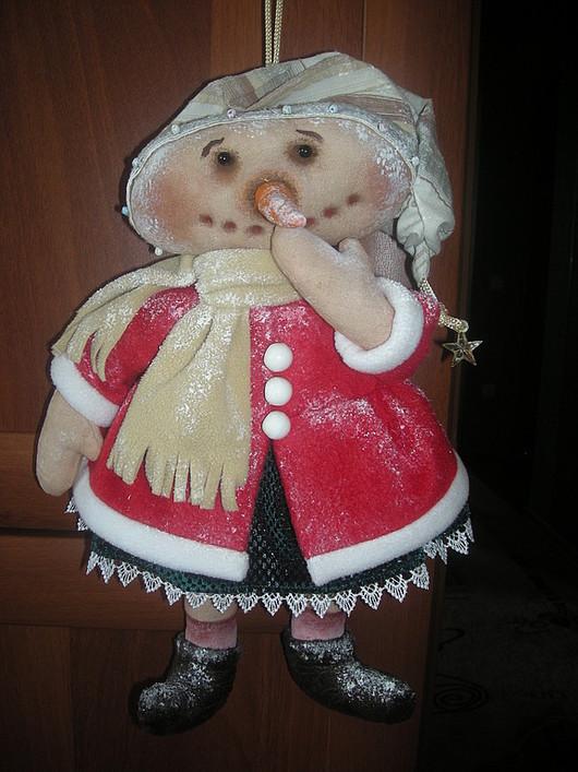 Человечки ручной работы. Ярмарка Мастеров - ручная работа. Купить Кукла Снеговушка. Handmade. Интерьерная кукла, снеговик, хлопок