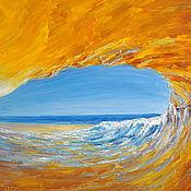 Картина  маслом Оранжевая волна. Живопись.