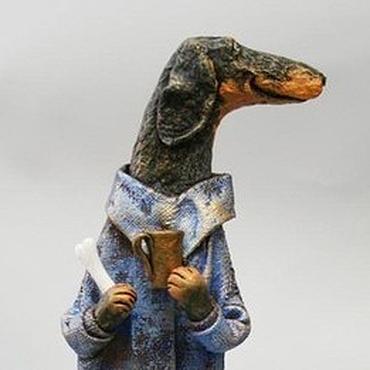 Куклы и игрушки ручной работы. Ярмарка Мастеров - ручная работа Таксик с кружкой. Handmade.