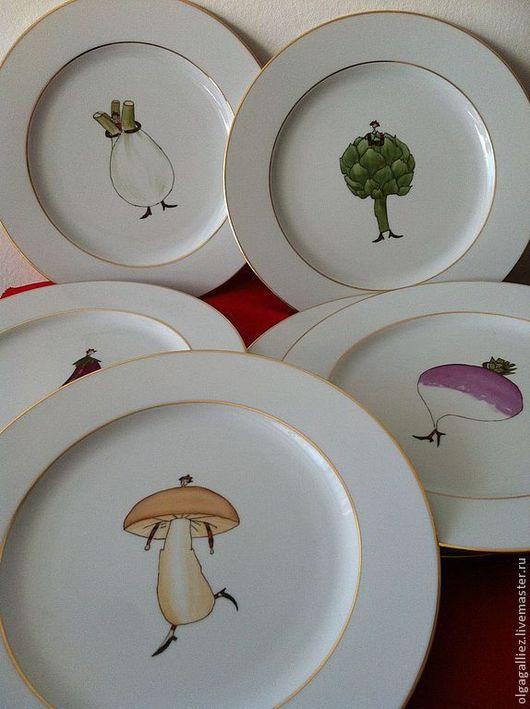 """Тарелки ручной работы. Ярмарка Мастеров - ручная работа. Купить Набор тарелок """"Веселые овощи"""". Handmade. Овощи, репка"""