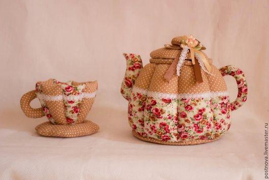 Кухня ручной работы. Ярмарка Мастеров - ручная работа. Купить Чайная пара текстильная.. Handmade. Бежевый, текстиль для интерьера, для кухни